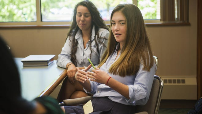 Lily Mullany, 17, of Bloomfield Hills, talks about her experience traveling to Japan with the Global Scholars Program at Detroit Country Day School in Beverly Hills, on Monday, September 12, 2016.