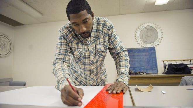 Lawrence Counts became a union construction worker this year after attending a skilled trades outreach program. Now, he is helping build Little Caesars Arena.