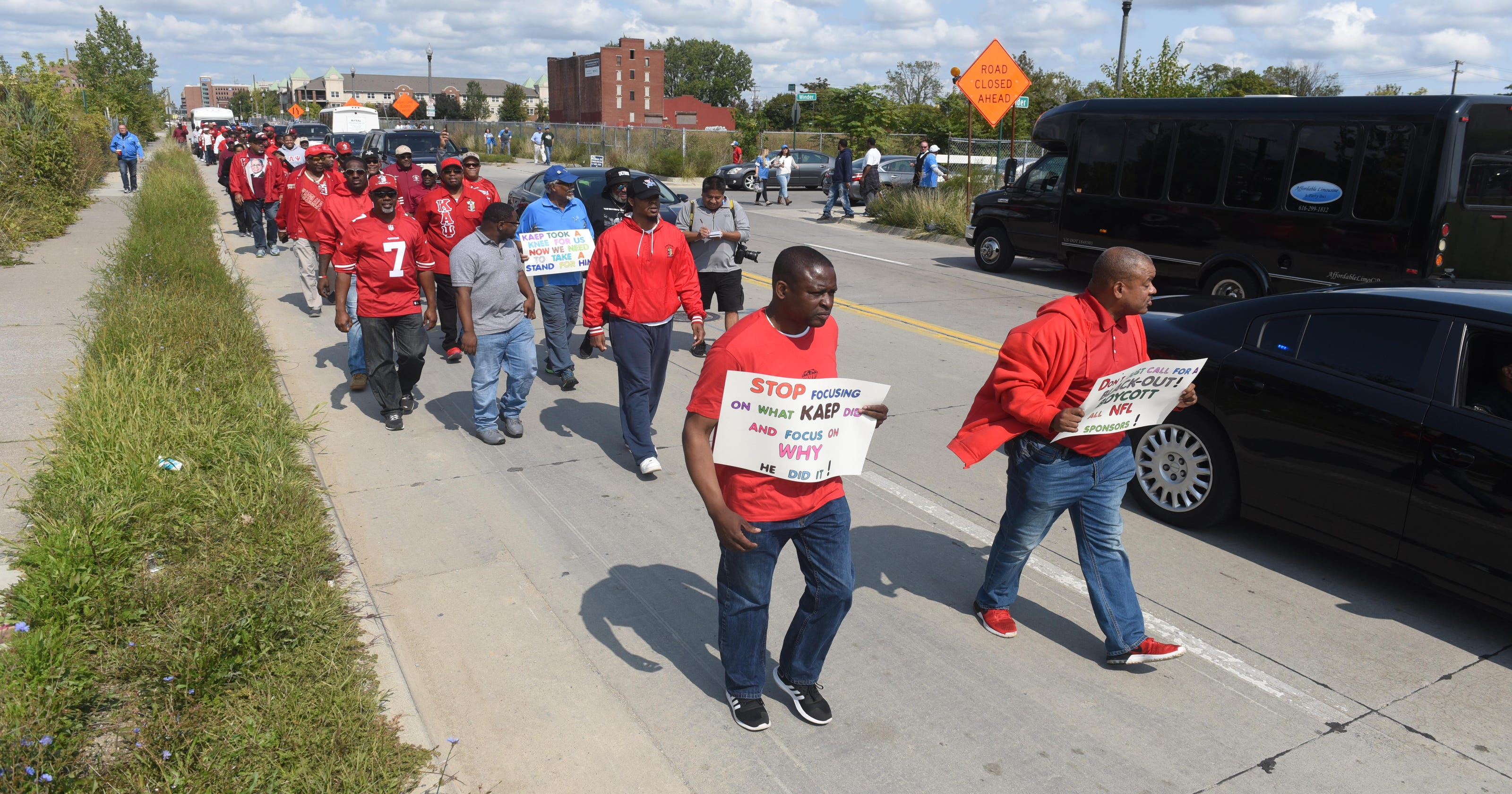 Kaepernick's fraternity marches in Detroit