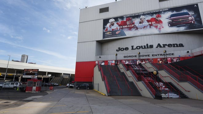 A view of the surrounding land and structures around the Joe Louis Arena in Detroit.