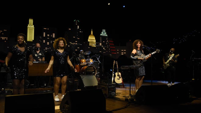 "Native Austinite Jackie Venson and her band tape ""Austin City Limits"" at ACL Live on Oct. 1. Onstage are Akina Adderley, from left, Eddy Hobizal, Kate Priestley, Rodney Hyder, Venson and Rick Clark."