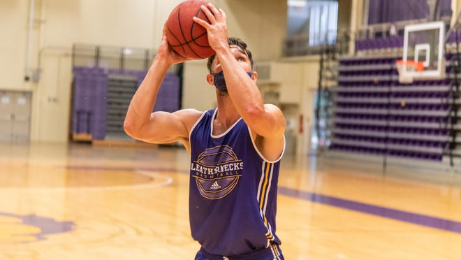 A Western Illinois player goes up for a shot during a practice earlier this fall.