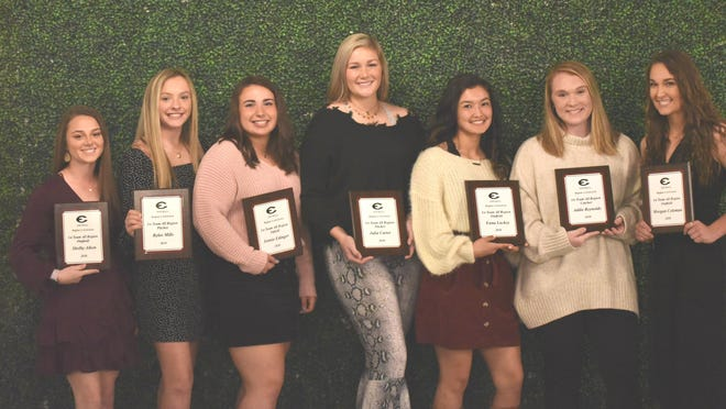 The annual softball banquet for the Lady Rebels was held Tuesday. From left are: Shelby Aiken, outfield; Rylee Mills, pitcher; Jennie Edinger, infield; Julia Carter, pitcher; Enna Lackey, outfield; Addie Reynolds, catcher; and Morgan Coleman, outfield.