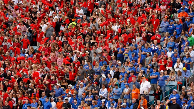 Fans for both the Georgia Bulldogs and the Florida Gators in the stands at TIAA Bank Field in Jacksonville, Florida on Saturday October 27, 2018.