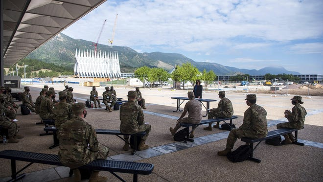 Academy Cadets start the school year with a mix of reduced class sizes and remote learning on Aug. 12, 2020 at the U.S. Air Force Academy. U.S. Rep. Bill Huizenga, R-Zeeland, nominated 15 area students in the class of 2025 for the academies.