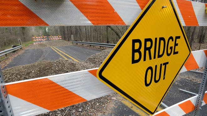 Signs warn of the closing of a bridge on Young Road near Louisiana 160 in Bossier Parish. The bridge is just one of many bridges that have been closed by the Louisiana Department of Transportation for being unsafe.