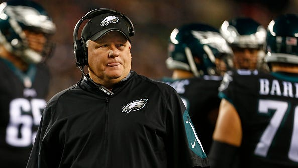 Philadelphia Eagles head coach Chip Kelly stares ahead during Monday night's game against the New York Giants.