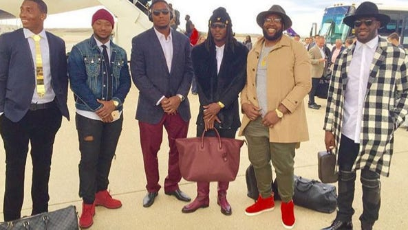 Several Bengals show off their fashion sense on a travel day.
