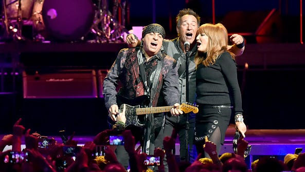 Steven Van Zandt, Bruce Springsteen and Patty Scialfa perform on stage at the Los Angeles Memorial Sports Arena at Exposition Park on March 17, 2016 in Los Angeles, California.