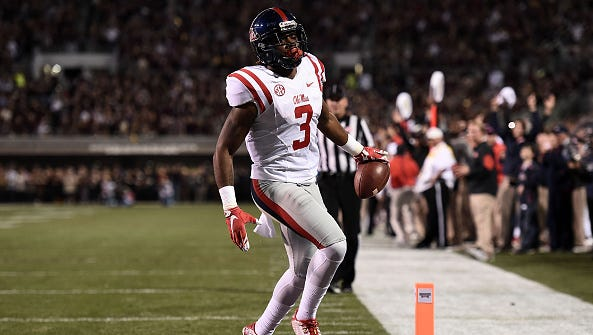 Wide receiver Damore'ea Stringfellow scores a touchdown against Mississippi State during their game last November. The Ole Miss offense set several records last season and could be better this year.