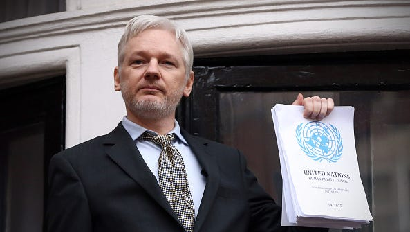 """Wikileaks founder Julian Assange speaks from the balcony of the Ecuadorian embassy on Feb. 5, 2016, in London. Assange, who is viewed by some as a patriot and by others as a traitor for exposing American secrets, has, reports The Washington Post, """"obtained a vast portion of the CIA's computer hacking arsenal"""" and has begun """"posting the files online in a breach that may expose some of the U.S. intelligence community's most closely guarded cyber weapons,"""" columnist Cal Thomas writes."""
