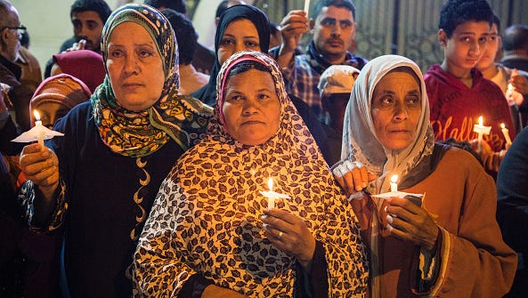 Bombs exploded at two Coptic churches in the northern Egyptian cities of Tanta and Alexandria as worshippers were celebrating Palm Sunday, killing over 40 people and wounding scores more in assaults claimed by the Islamic State group.