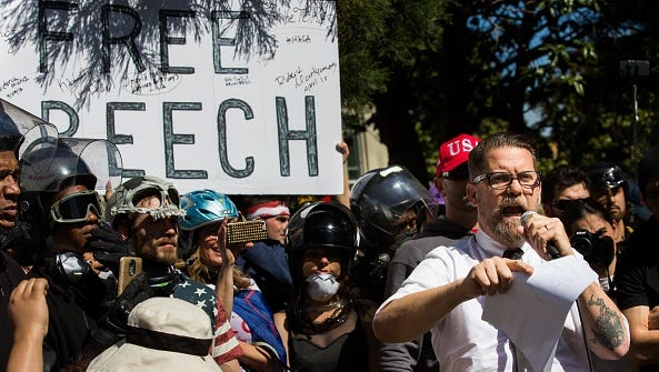 BERKELEY, USA - APRIL 27, 2017: Gavin McInnes, a Canadian right wing provocateur and Vice Media co-founder, addresses the crowd gathered during a pro-Donald Trump rally at Martin Luther King Jr. Civic Center Park in Berkeley, California on April 27, 2017. The rally was held in protest of the cancellation of a planned talk by Ann Coulter on the campus of the University of California Berkeley, amid security concerns. (Photo by Philip Pacheco/Anadolu Agency/Getty Images)