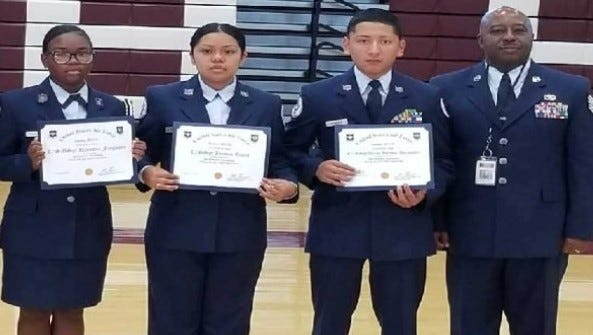 (From left) Cadet SMSgt Rayanna Ferguson, Cadet Staff Sgt. Jazmin Tapia, Cadet Staff Sgt. Diego Heredia-Hernandez, all members of Bridgeton High School's Air Force JROTC, are pictured with TSgt George Linen, aerospace science instructor, Bridgeton High School. The cadets were recently recognized with theTop 2% Award.