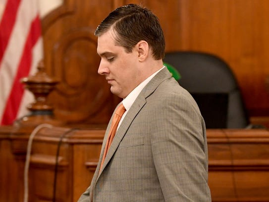 Zach Adams arrives in court for Day 7 of the Holly