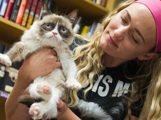 Grumpy Cat, the cat known for having a sour expression,