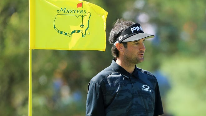 Bubba Watson looks on during a practice round prior to the start of the 2018 Masters Tournament at Augusta National Golf Club on April 3, 2018 in Augusta, Georgia.