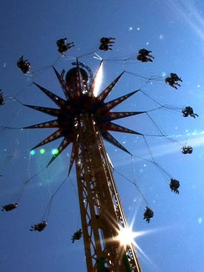 """2012: People fly on the new """"SkyScreamer"""" over Six Flags Great Adventure in Jackson Township."""