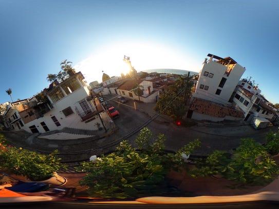 A wild 360 degree shot of Puerto Vallarta, on the Ricoh