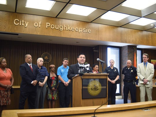 City of Poughkeepsie Mayor John Tkazyik speaks during a press conference on Friday at City Hall about the recent surge in shootings within the city.