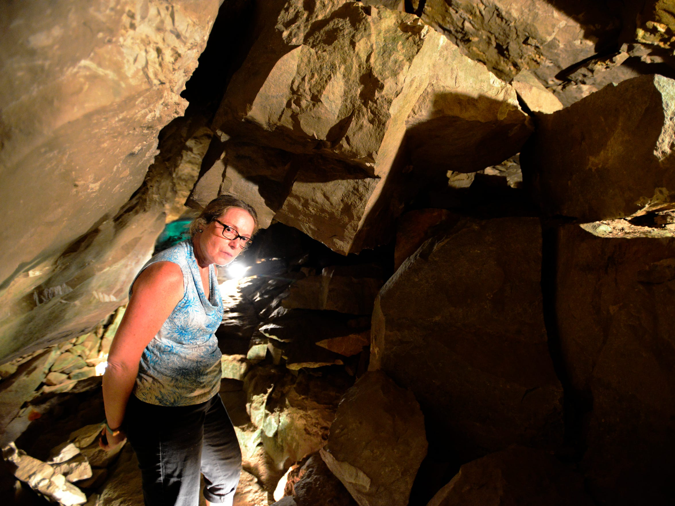 Denise Bell, owner, inside Seneca Caverns in Bellevue.