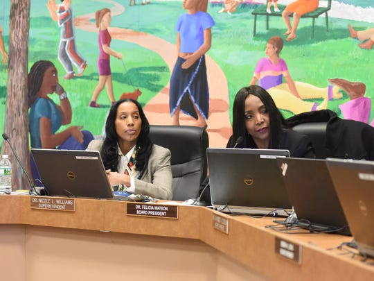 Poughkeepsie City School District Superintendent Nicole Williams (left) and board President Felicia Watson, at a school board meeting on Dec. 13, 2017.