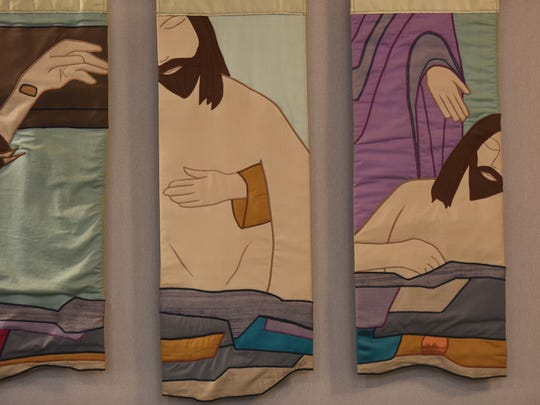 Modern tapestry Stations of the Cross at St Ann's Church
