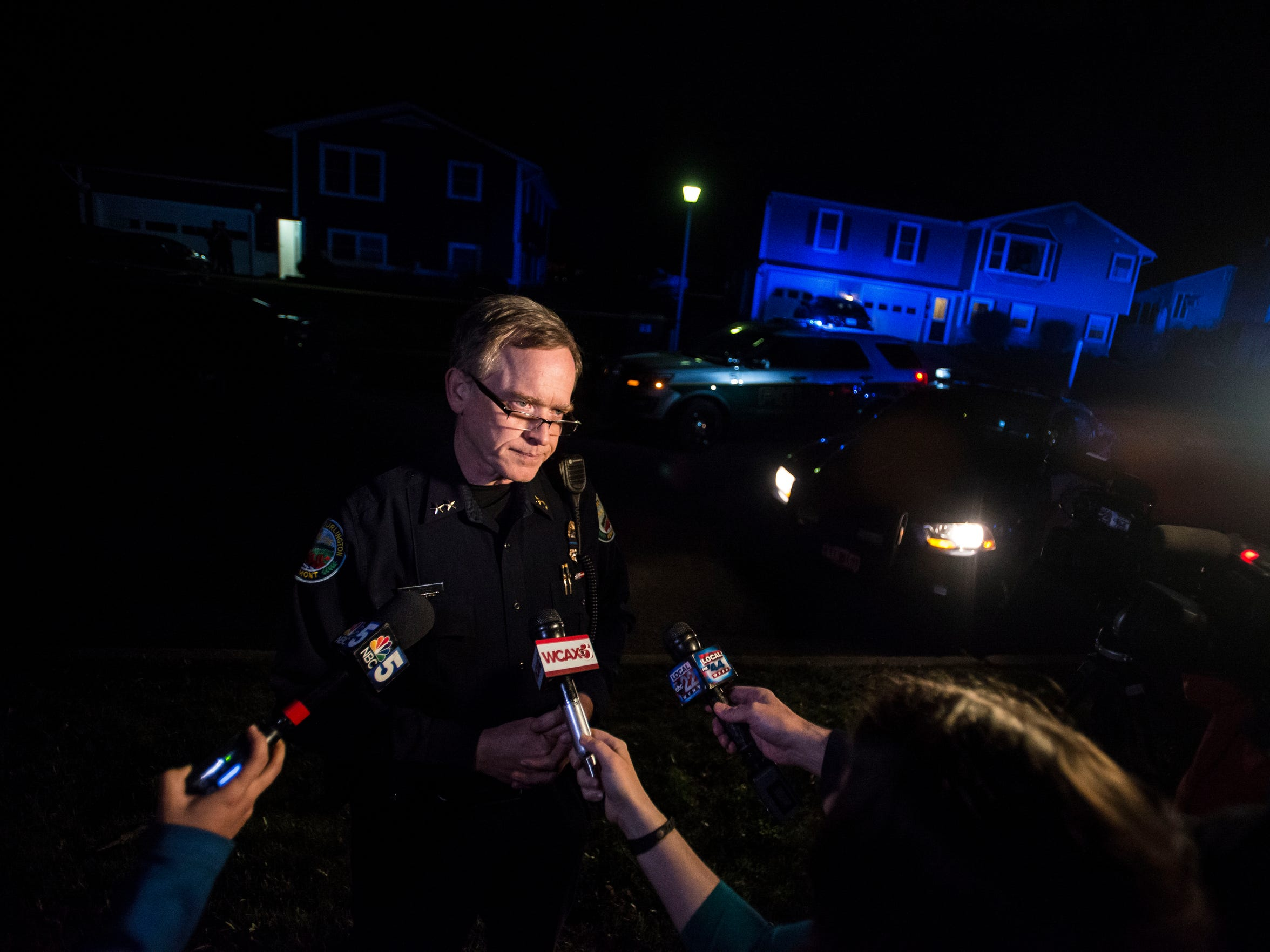 Police Chief Trevor Whipple briefs media outside of 10/12 Southview Drive on Thursday night, May 3, 2018, after a woman was found shot dead inside. Police are searching for Leroy A. Headley in connection with the woman's death.