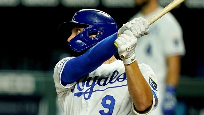 Kansas City Royals first baseman Ryan McBroom belts his first career home run Friday night in a 3-2 loss to the Chicago White Sox.