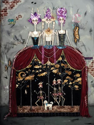 """""""Marionettes"""" painting by doll artist Paula Hallman."""