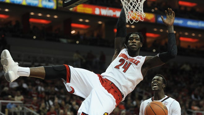 UoL's Montrezl Harrell (24) dunks against Bellarmine on Sunday at the KFC Yum! Center. (By David Lee Hartlage, Special to the C-J) Nov. 8, 2014.