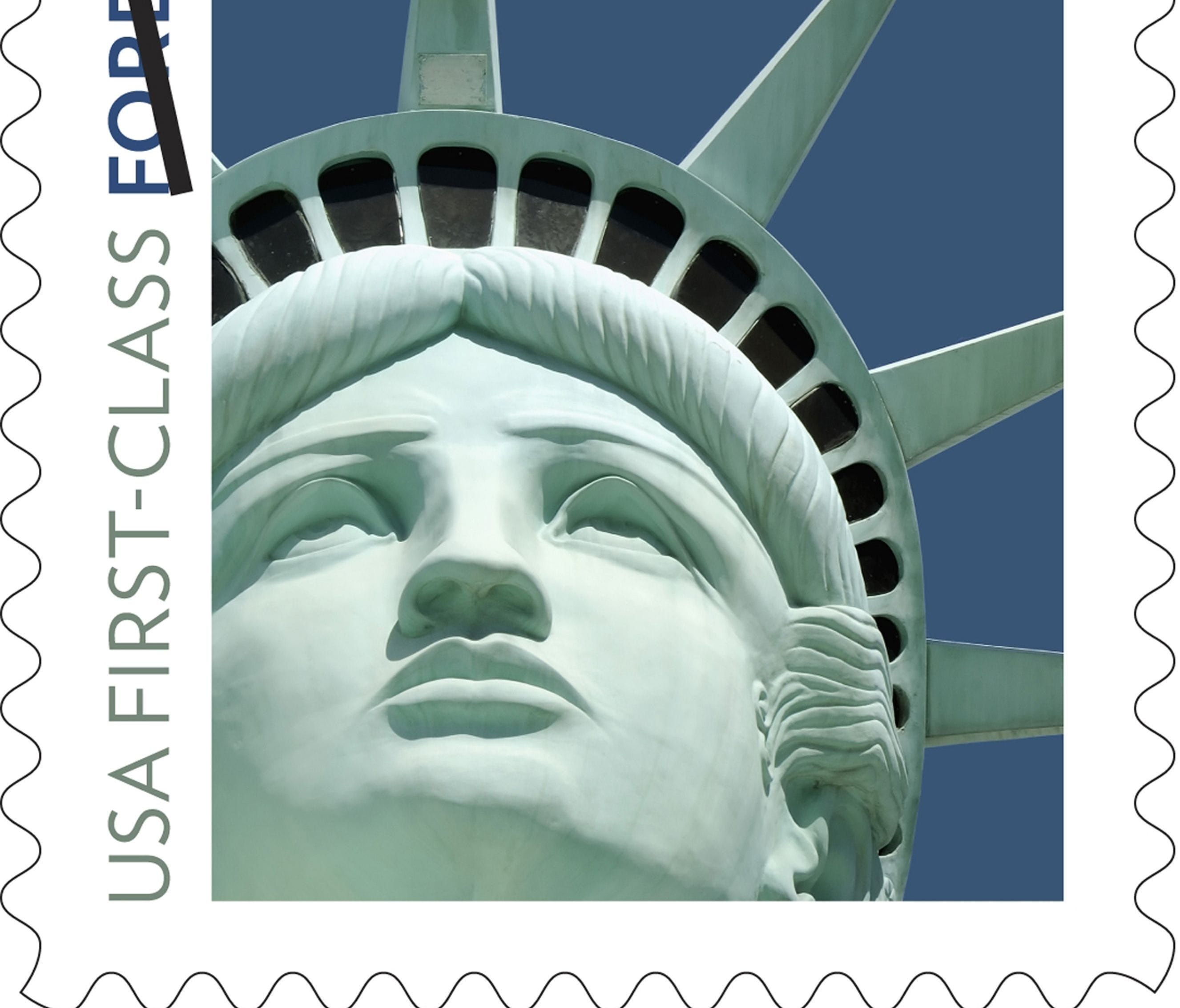 This undated file handout image provided by the U.S. Postal Service shows the Lady Liberty first class postage stamp first issued in 2011.