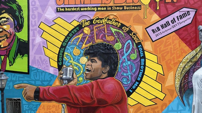 """The Greater Augusta Arts Council, the Augusta Convention & Visitors Bureau and the City of Augusta will hold a public unveiling of the """"Spirit of Funk"""" mural by Cole Phail at 2 p.m. Tuesday, Oct. 27, at Ninth and Broad streets."""