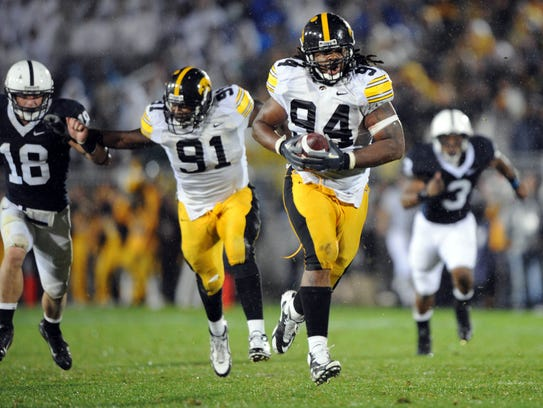 Adrian Clayborn not only hassle quaterbacks and running backs, he even blocked a punt and returned it for a touchdown during a Hawkeyes' game vs. Penn State.