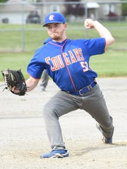 Garden City's Jake Niemiec delivers a pitch during