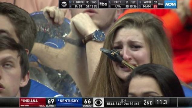 Taylor Hunt, a senior at UK, caught in tears on a clip of Saturday's game against Indiana.