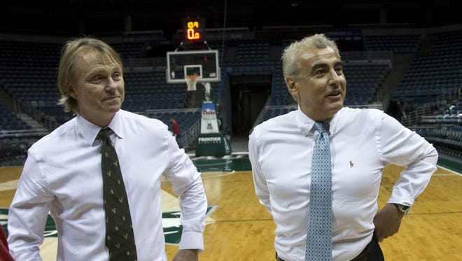 Milwaukee Bucks owners Wesley Edens, left, and Marc Lasry.