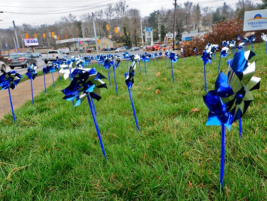A pinwheel garden has been planted at the intersection