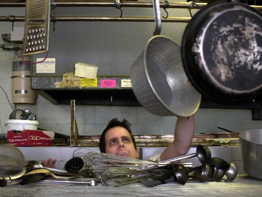This 2007 York Daily Record/Sunday News file photo shows Emmanuel Tsogas in the kitchen of Stadium Grille. The restaurant recently partnered with Liquid Hero to expand its customer base.
