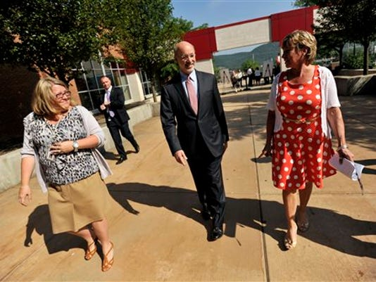 Gov. Tom Wolf visits Bellefonte Area School District in July as he touted his budget plan. The state has been without a budget since the new fiscal year began July 1.
