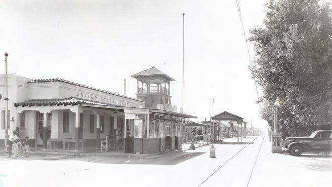 El Paso side of the Santa Fe St. Bridge to Juarez, circa 1940.