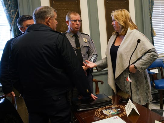 State Rep. Helene Keeley speaks to law enforcement
