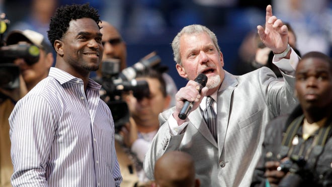 Immokalee native Edgerrin James, shown with Indianapolis Colts owner Jim Irsay when James was inducted into the team's Ring of Honor in 2012, is a finalist for the Pro Football Hall of Fame's Class of 2019. It is the third time in four years James has been a finalist.