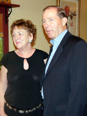 Diane Barrett, left, was honored by Sen. Tom Udall, right, on Friday at her restaurant in Silver City.