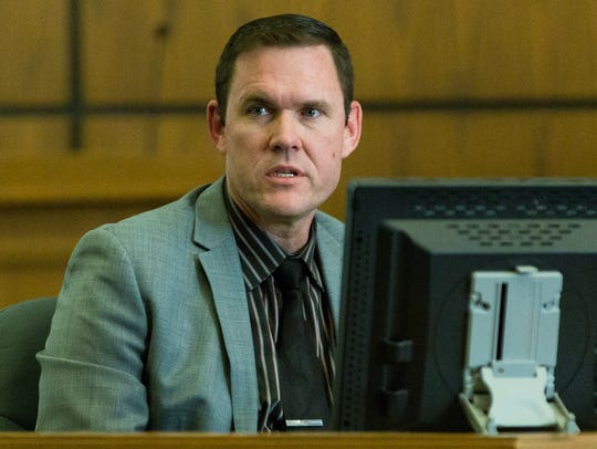 Las Cruces Police Lt. Casey Mullins testifies on Thursday,