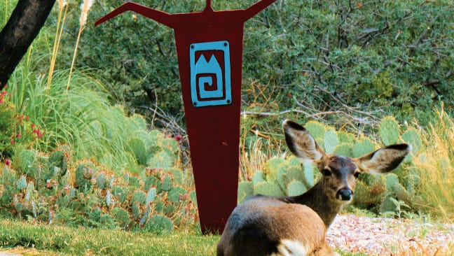 "New Mexico wildlife appreciates Mark Bowen's metal art ""Shaman."""