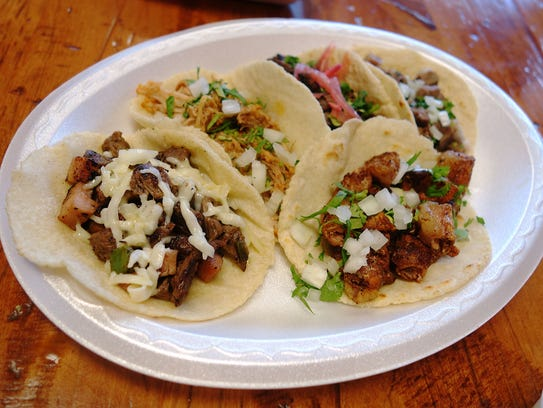 Tacos at Taco Chiwas, which serves thick, fresh tortillas