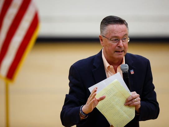 Rep. Rod Blum, who represents Iowa's 1st Congressional District, answers questions from people during a town hall at Marshalltown Community College on Thursday, May 11, 2017, in Marshalltown, Iowa.