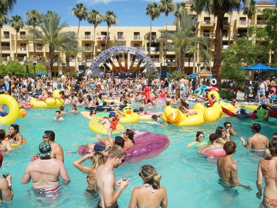 People stay cool in the pool during the June Splash