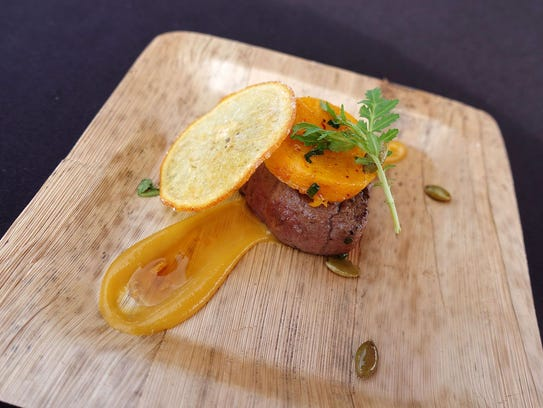 Caramelized beef tenderloin with orange soy condiment and butternut squash from J&G Steakhouse at the 2017 azcentral Food & Wine Experience.